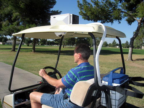 Golf Car Coolers produce 12-volt air conditioning. Golf Cart Coolers on powered cooler, utv cooler, trailer cooler, engine cooler, fan cooler, golf mulligan,